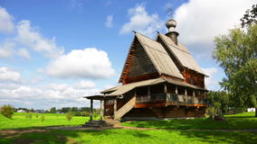 Traditional russian wooden church in ancient town of Suzdal stock footage