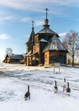 Traditional Russian wooden church of the Resurrection from village of Patakino. Royalty Free Stock Image