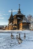 Traditional Russian wooden church of the Resurrection from village of Patakino. Royalty Free Stock Images