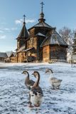 Traditional Russian wooden church of the Resurrection from village of Patakino. Stock Images