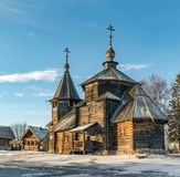 Traditional Russian wooden church of the Resurrection from village of Patakino. Royalty Free Stock Photos