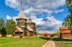 The traditional russian wooden church in Suzdal, Russia. The traditional russian wooden church for tourists in the ancient town of Suzdal, Russia. Golden Ring of Royalty Free Stock Photography