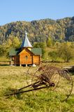The traditional russian wooden church. At Teletskoye Lake Stock Image