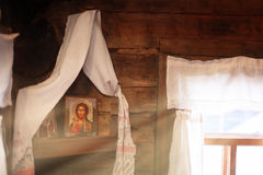 Traditional Russian wooden house inside Royalty Free Stock Image