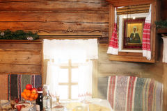 Traditional Russian wooden house inside Royalty Free Stock Photos