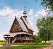 Traditional Russian Wooden Wooden Church of St. Nicholas in Suzdal. Golden Ring Of Russia Royalty Free Stock Image