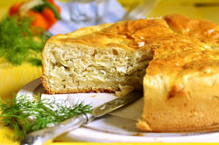 Traditional russian yeast pie with cabbage and dill. Stock Photo