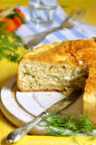Traditional russian yeast pie with cabbage and dill. Royalty Free Stock Photo
