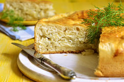Traditional russian yeast pie with cabbage and dill. Stock Photography