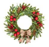 Traditional Rustic Christmas Wreath On White Background Royalty Free Stock Photo