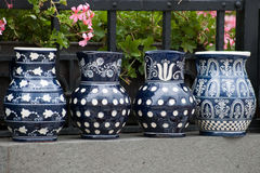 Traditional rustic pottery from Romania. Traditional earthenware rustic pottery from Romania stock photography