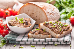 Traditional rye bread with pate Royalty Free Stock Images