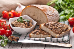 Traditional rye bread with pate. Royalty Free Stock Photography