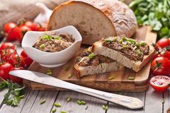 Traditional rye bread with pate. Royalty Free Stock Photo
