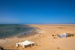 Traditional sahara tents on desert Stock Image
