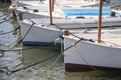 Traditional sailboats (llauts) moored, Majorca Stock Photo