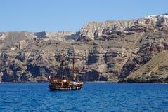 Traditional sailing boat in Aegean Sea,Santorini. Royalty Free Stock Image