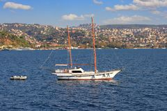 Traditional sailing boat. Traditional Turkish design, two masted wooden sailing boat Stock Image