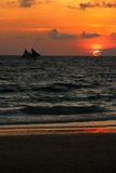 Traditional sailing boats  on a sunset tour Royalty Free Stock Photo