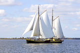Traditional sailing ship on the IJsselmeer in Netherlands Stock Images