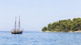 Traditional sailing ship near the coast. Royalty Free Stock Photo