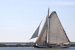 Traditional sailing ship in the wind Stock Images