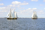 Traditional sailing ships on the IJsselmeer in Netherlands Royalty Free Stock Image