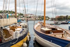 Traditional sailing ships moored in Bristol Docks, Bristol, United Kingdom royalty free stock photo