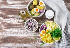 Traditional salad of salted herring fillet, eggs, fresh apples, red onion and potatoes. Kosher food. Scandinavian cuisine. Top view. Flat lay stock photography