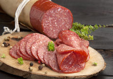 Traditional salami Royalty Free Stock Image