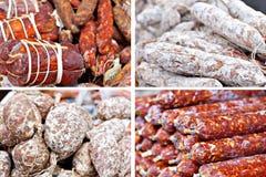 Traditional salami at Italian market Stock Image