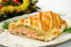 Traditional salmon in puff pastry Royalty Free Stock Photos