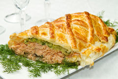 Traditional salmon in puff pastry Stock Photo