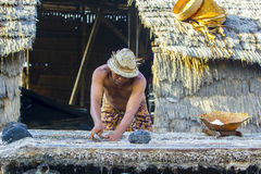 Traditional salt farmer Royalty Free Stock Photography