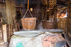 Traditional salt making by boiled with old method Royalty Free Stock Images