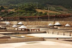 Traditional salt mine terraces. Parcial view of a salt mine located in Rio Maior - Portugal.  the terraces and pine boards with plenty of white salt and a old Royalty Free Stock Image