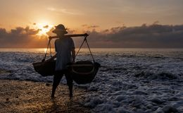 Kusamba salt farmer Bali Royalty Free Stock Photo