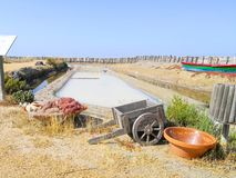 Traditional saltworks. Isla Cristina, Huelva, Spain. Deposits sediments, canals and mud flats. Southern Andalusia saltworks.  stock images