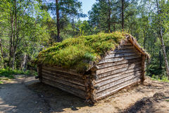Traditional Sami loghouse with green roof in Lapland Scandinavia stock image