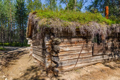 Traditional Sami loghouse with green roof in Lapland Scandinavia royalty free stock images