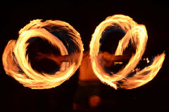 Fire dancer. Traditional Samoan fire dancer practicing ancient ritual Stock Images