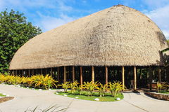 A Traditional Samoan Guest house, a fale talimalo. Honolulu, Hawaii - May 27, 2016: A Traditional Samoan Guest house, a fale talimalo, within the Samoan village royalty free stock image