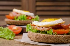 Traditional sandwich with fried bacon stock photos