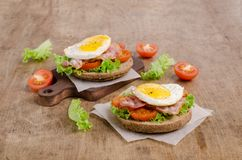 Traditional sandwich with fried bacon stock photo