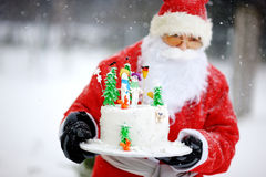 Traditional Santa Claus and a Christmas cake Royalty Free Stock Photos