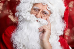 Traditional Santa Claus ringing on a bell, concept xmas Royalty Free Stock Photo