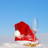 Traditional Santa hat on winter Royalty Free Stock Image