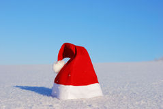 Traditional Santa hat on winter Royalty Free Stock Photos