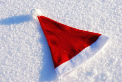 Traditional Santa hat on winter Stock Photos