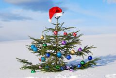 Traditional Santa hat on winter background Stock Photography